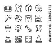 home repair  work tools line... | Shutterstock .eps vector #635653973