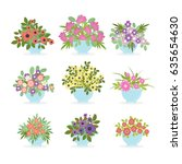 flower pots set on white... | Shutterstock .eps vector #635654630