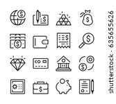 banking line icons set. modern... | Shutterstock .eps vector #635655626