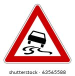 slippery or hazardous road sign ... | Shutterstock . vector #63565588