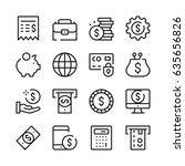 money and finance line icons... | Shutterstock .eps vector #635656826