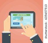 flight ticket search. hands... | Shutterstock .eps vector #635657513