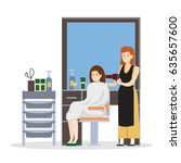 isolated hairdressing salon... | Shutterstock .eps vector #635657600