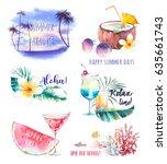 watercolor summer labels set.... | Shutterstock . vector #635661743