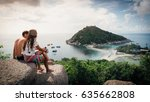 happy romantic couple enjoying... | Shutterstock . vector #635662808