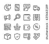 online shopping line icons set. ... | Shutterstock .eps vector #635663189