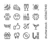 celebration line icons set.... | Shutterstock .eps vector #635667440