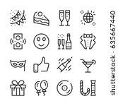 celebration line icons set.... | Shutterstock .eps vector #635667440