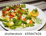 colorful mixed salad | Shutterstock . vector #635667626