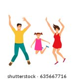 father  mother and daughter... | Shutterstock .eps vector #635667716