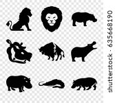 zoo icons set. set of 9 zoo... | Shutterstock .eps vector #635668190