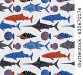 underwater world print. graphic ... | Shutterstock .eps vector #635670176