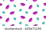 vector seamless pattern of lips ... | Shutterstock .eps vector #635671250