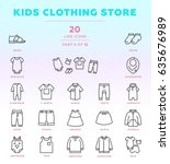 Stock vector online shop outline icon set of modern and stylish icons part kids clothing store dark 635676989