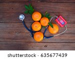 vitamin c form oranges and... | Shutterstock . vector #635677439