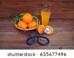 vitamin c form oranges and... | Shutterstock . vector #635677496