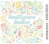 a set of hand drawn medical... | Shutterstock .eps vector #635678333