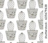 doodle cactus seamless patten.... | Shutterstock .eps vector #635679638