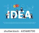 cartoon working little people... | Shutterstock .eps vector #635680700