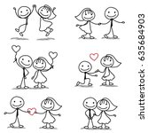 six cute and fun stick figure... | Shutterstock .eps vector #635684903