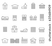 house and building icons set    Shutterstock .eps vector #635684909