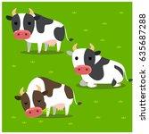 vector set of cows in different ... | Shutterstock .eps vector #635687288