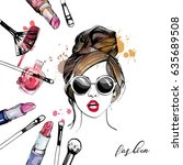 cosmetics and fashion... | Shutterstock .eps vector #635689508