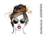 stylish girl in glasses.... | Shutterstock .eps vector #635689544