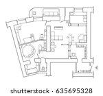 floor plan   top view plans.... | Shutterstock .eps vector #635695328