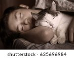 Teen Boy Sleep With Cat In Bed...
