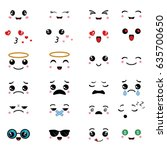 cartoon faces expressions.... | Shutterstock .eps vector #635700650