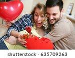 boyfriend and his girlfriend...   Shutterstock . vector #635709263