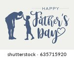 silhouette of father and son... | Shutterstock .eps vector #635715920