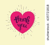 vintage thank you card. heart... | Shutterstock .eps vector #635721818