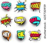 collection of cartoon  comic... | Shutterstock .eps vector #635730959