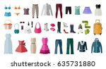 set of women s clothing and... | Shutterstock .eps vector #635731880