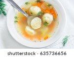 delicious matzoh ball soup... | Shutterstock . vector #635736656