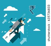 businessman rocket ride is... | Shutterstock .eps vector #635736833