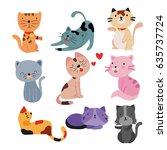 Stock vector cats character design 635737724