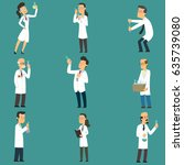 scientists characters set with... | Shutterstock .eps vector #635739080