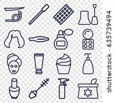 cosmetic icons set. set of 16... | Shutterstock .eps vector #635739494