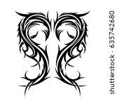 abstract tribal tattoo design... | Shutterstock .eps vector #635742680