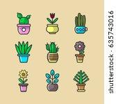 cartoon green indoor plants in... | Shutterstock .eps vector #635743016