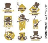 gentlemen club logo labels set... | Shutterstock .eps vector #635743949