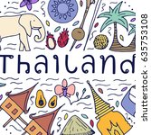 culture of thailand. hand drawn ... | Shutterstock .eps vector #635753108