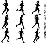 set of silhouettes. runners on... | Shutterstock . vector #635755040