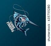 angry marlin fish logo. marlin... | Shutterstock .eps vector #635755280