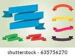 flat vector ribbons banners | Shutterstock .eps vector #635756270