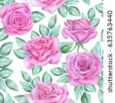 seamless floral pattern with... | Shutterstock . vector #635763440