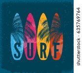 surf boards palm leaves on... | Shutterstock .eps vector #635769764